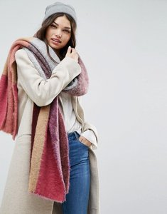 Read more about Asos colourblock fluffy knit long scarf - multi