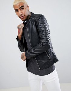 Read more about Goosecraft turin leather biker with quilted shoulders in black - black