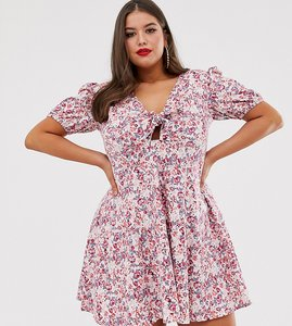 Read more about Asos design curve tie front mini tea dress with puff sleeves in vintage floral