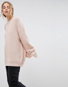 Read more about Asos design boyfriend jumper in chunky rib - nude