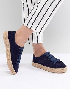 Read more about Asos design jan suede lace up espadrilles - navy suede