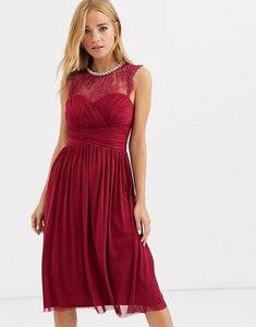 Read more about Lipsy ruched midi dress with lace yolk and embellished neck in berry