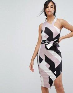 Read more about Lavish alice abstract print asymmetric halterneck midi dress - multi