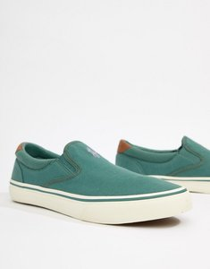 Read more about Polo ralph lauren thompson 2 pique slip on plimsolls leather trims in green - eucalyptus