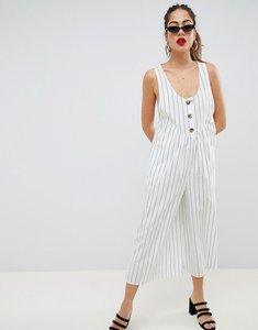 Read more about Asos design jumpsuit with button front detail in stripe - mono stripe
