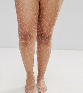 Read more about Asos curve oversized fishnet tights in pink - pink