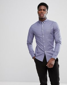Read more about Asos casual stretch skinny oxford shirt in blue grey - blue