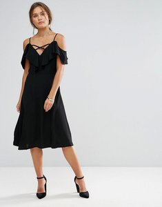 Read more about Lunik ruffle dress with side slit - black
