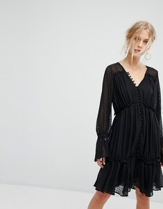 Read more about Current air mesh overlay ruffle layer midi dress - black