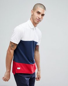 Read more about Tommy hilfiger caleb icon colourblock regular fit polo in navy - bright white