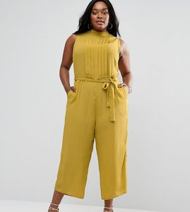 Read more about Asos curve wide leg jumpsuit with pleated front panel - chartreuse