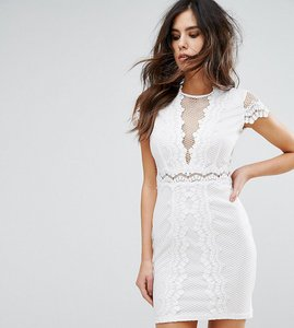 Read more about Naanaa bodycon dress in mesh lace contrast - white
