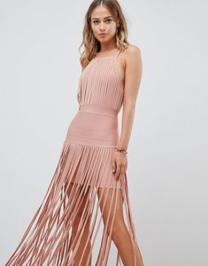 Read more about Asos design premium bandage fringe dress - pink
