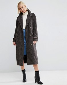 Read more about Asos coat in check with contrast cuff - multi