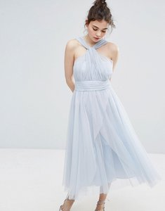 Read more about Oasis premium tulle mid dress - light blue