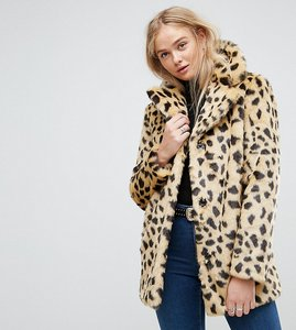 Read more about Asos tall faux fur coat in leopard - mono