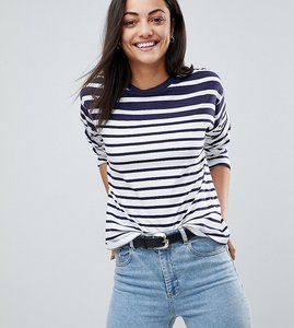 Read more about Asos tall boxy top in cutabout stripe - black white