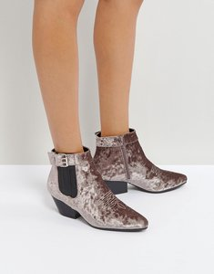 Read more about Qupid low heel velvet western boot - grey crushed velvet