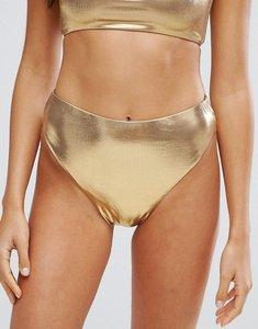 Read more about New look metallic high leg bikini bottom - gold