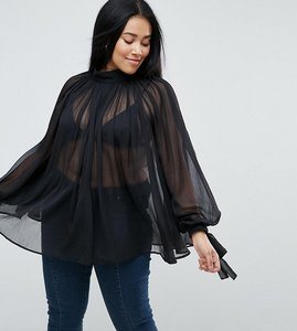 Read more about Asos curve high neck floaty blouse - black