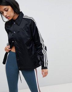 Read more about Adidas originals three stripe windbreaker jacket in black - black