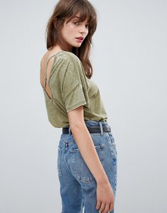 Read more about Asos design t-shirt in burnout with strap detail - khaki green