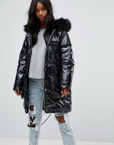 Read more about Asos wet look parka - black
