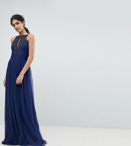 Read more about Little mistress tall applique high neck maxi dress - navy