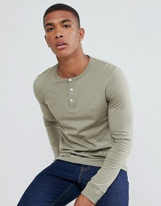 Read more about French connection henley long sleeve top - green