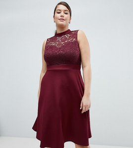 Read more about Ax paris plus lace 2-in-1 skater dress - wine