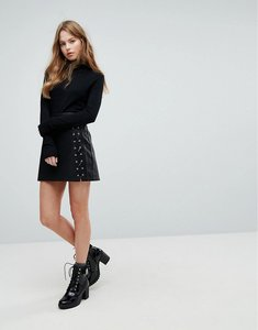 Read more about New look lace up pu mini skirt - black