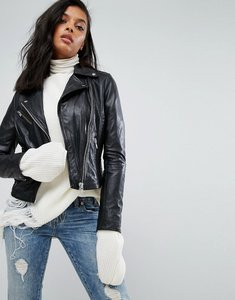 Read more about Barney s leather jacket with quilted detail - black