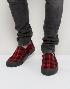 Read more about Asos slip on plimsolls in tartan check - red
