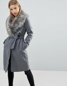 Read more about Brave soul ada long coat with detachable faux fur collar - grey