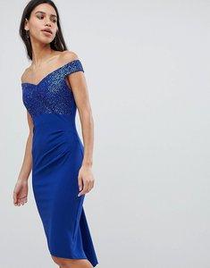 Read more about City goddess off the shoulder sequin midi dress - cobalt