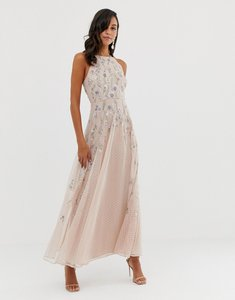 Read more about Asos design maxi dress with pinny bodice in embroidered dobby
