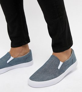 Read more about Asos design wide fit slip on plimsolls in blue chambray - blue