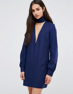 Read more about Re dream plunge neck tunic dress with collar - navy