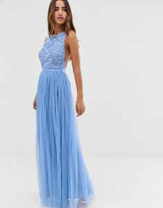 Read more about Maya delicate sequin bodice maxi dress with cross back bow detail in bluebell
