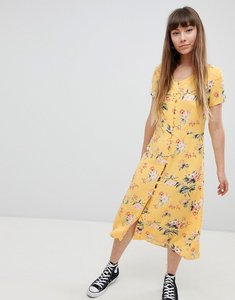 Read more about New look button front tea midi dress - yellow