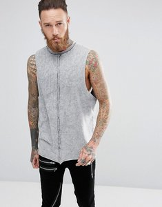 Read more about Asos longline sleeveless t-shirt with dropped armhole in acid wash - grey
