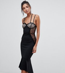 Read more about Asos tall lace cupped pephem strappy bodycon dress - black