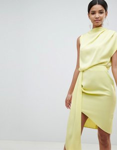 Read more about Asos design satin drape midi dress with sash detail - dusty yellow