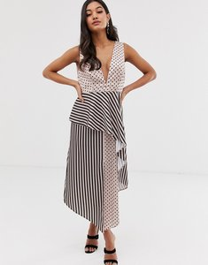 219402a6d4815 Read more about Asos design midi dress in mixed spot and stripe print