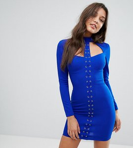 Read more about Ginger fizz lace up mini bodycon dress - cobalt