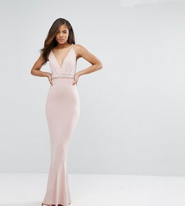 Read more about Asos tall slinky deep plunge fishtail plait strap maxi dress - nude