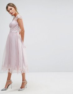 Read more about Chi chi london premium lace midi prom dress with lace neck - mink