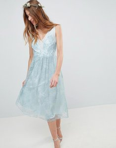 Read more about Asos design design bridesmaid delicate lace sheer insert midi dress - pastel blue
