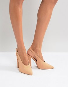 Read more about Qupid slingback block heel shoe - blush nubuck pu