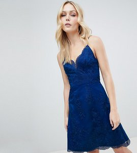 Read more about Chi chi london tall premium lace mini dress - navy